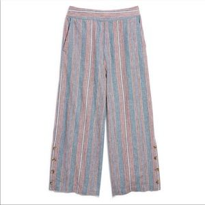 Madewell Huston Rainbow Stripe Wide Leg Button